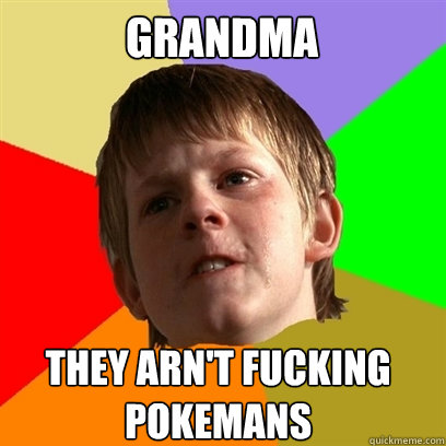 GRANDMA THEY ARN'T FUCKING POKEMANS - GRANDMA THEY ARN'T FUCKING POKEMANS  Angry School Boy