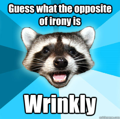 Guess what the opposite of irony is Wrinkly - Guess what the opposite of irony is Wrinkly  Lame Pun Coon
