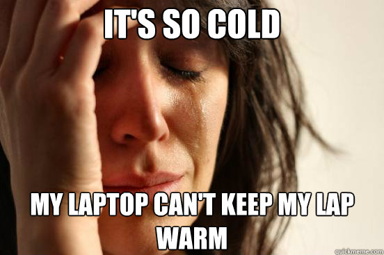 It's so cold my laptop can't keep my lap warm - It's so cold my laptop can't keep my lap warm  First World Problems