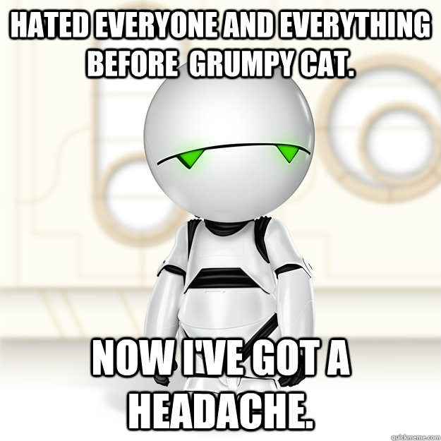 Hated Everyone and Everything before  gRUMPY CAT. Now I've got a headache.  - Hated Everyone and Everything before  gRUMPY CAT. Now I've got a headache.   HIPSTER MARVIN