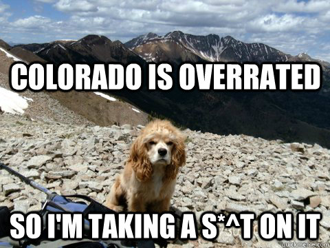 Colorado is overrated So i'm taking a s*^t on it  Grumpy Dog