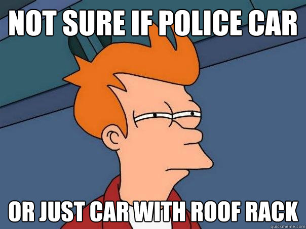 not sure if police car or just car with roof rack - not sure if police car or just car with roof rack  Futurama Fry