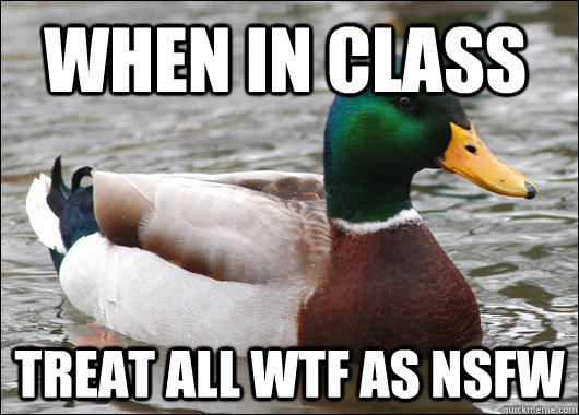 when in class treat all wtf as nsfw - when in class treat all wtf as nsfw  Actual Advice Mallard