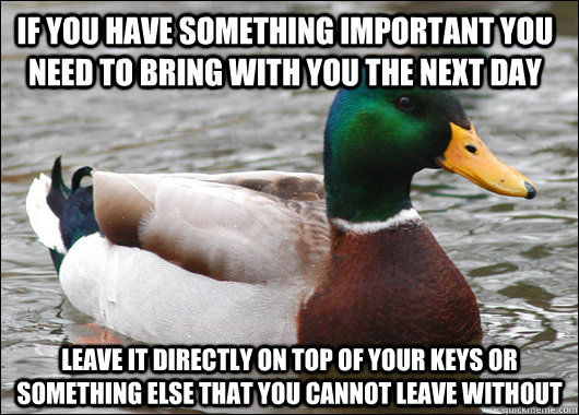 If you have something important you need to bring with you the next day leave it directly on top of your keys or something else that you cannot leave without - If you have something important you need to bring with you the next day leave it directly on top of your keys or something else that you cannot leave without  Actual Advice Mallard