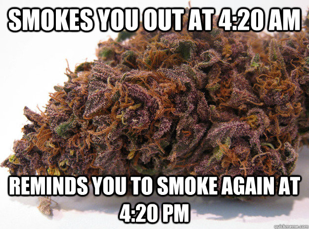 Smokes you out at 4:20 am Reminds you to smoke again at 4:20 pm