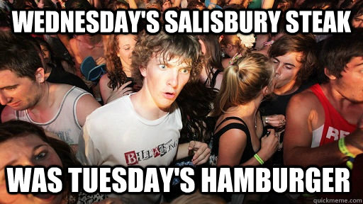 Wednesday's Salisbury Steak Was Tuesday's Hamburger  - Wednesday's Salisbury Steak Was Tuesday's Hamburger   Sudden Clarity Clarence
