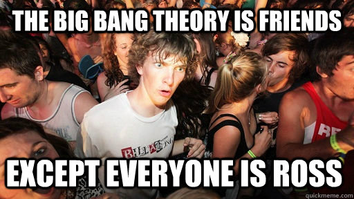 the big bang theory is friends except everyone is ross - the big bang theory is friends except everyone is ross  Sudden Clarity Clarence