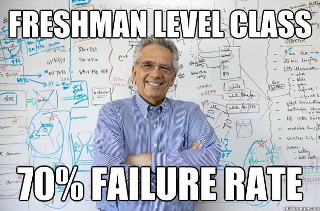 Freshman level class 70% failure rate