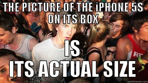 THE PICTURE OF THE IPHONE 5S ON ITS BOX IS ITS ACTUAL SIZE Suddenly Clarity Clarence