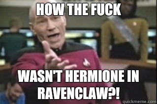 HOW THE FUCK WASN'T HERMIONE IN RAVENCLAW?!