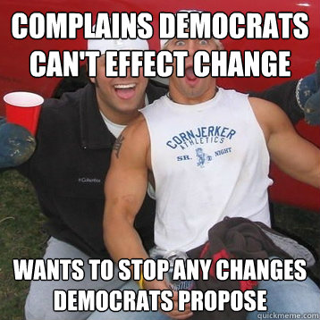 Complains Democrats can't effect change Wants to stop any changes Democrats propose