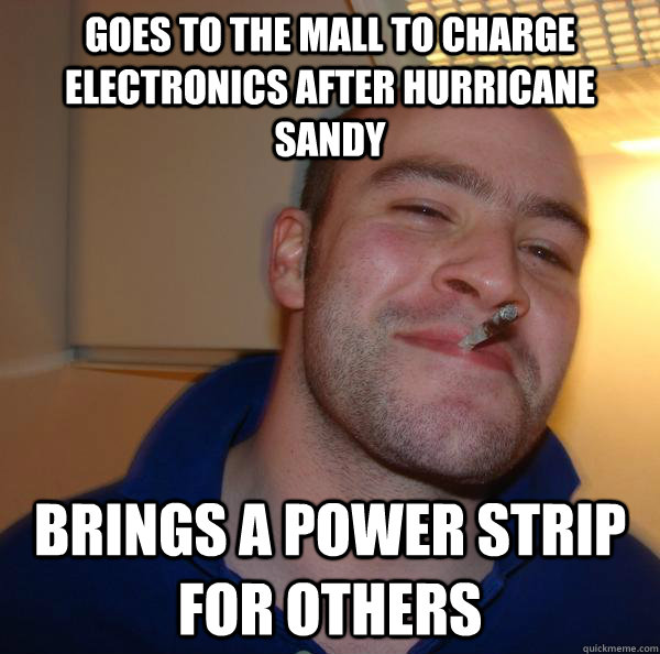 Goes to the mall to charge electronics after hurricane sandy brings a power strip for others - Goes to the mall to charge electronics after hurricane sandy brings a power strip for others  Misc