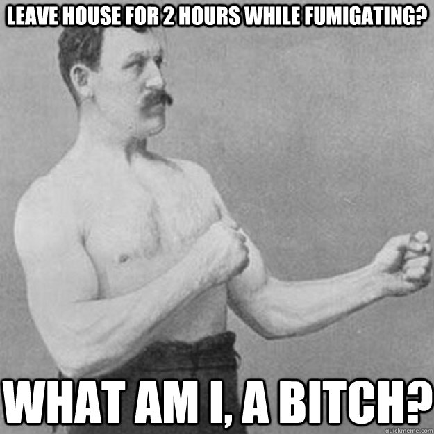 Leave house for 2 hours while fumigating? what am i, a bitch? - Leave house for 2 hours while fumigating? what am i, a bitch?  overly manly man