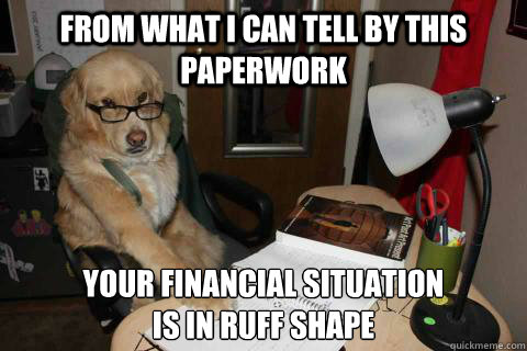 from what i can tell by this paperwork your financial situation  is in ruff shape - from what i can tell by this paperwork your financial situation  is in ruff shape  Financial Advice Dog