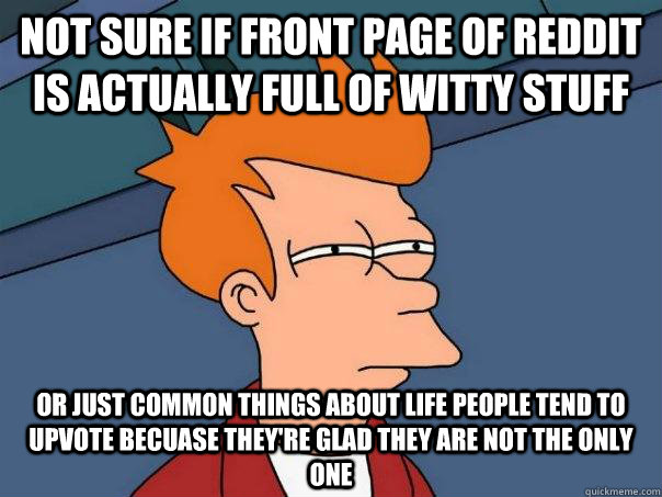 Not sure if front page of reddit is actually full of witty stuff Or just common things about life people tend to upvote becuase they're glad they are not the only one - Not sure if front page of reddit is actually full of witty stuff Or just common things about life people tend to upvote becuase they're glad they are not the only one  Futurama Fry