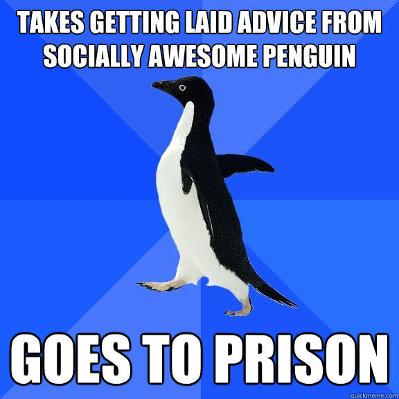 Takes getting laid advice from socially awesome penguin goes to prison - Takes getting laid advice from socially awesome penguin goes to prison  Socially Awkward Penguin
