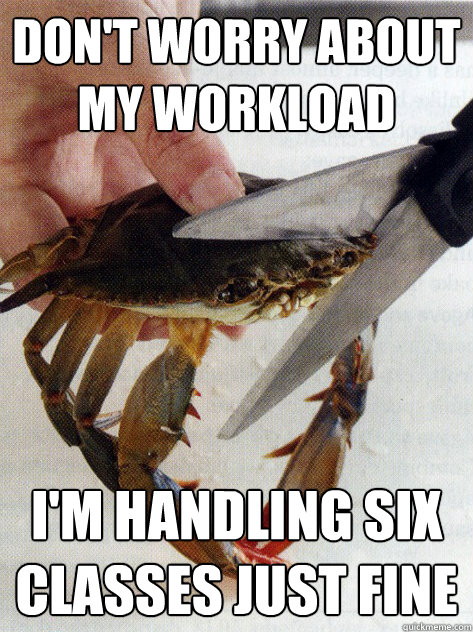 Don't worry about my workload I'm handling six classes just fine  Optimistic Crab