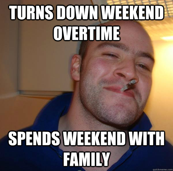 Turns down weekend overtime spends weekend with family - Turns down weekend overtime spends weekend with family  Misc