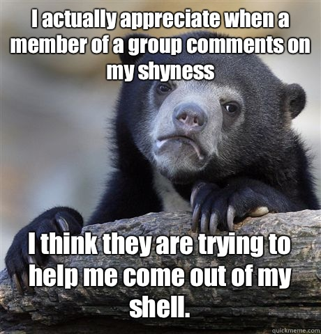 I actually appreciate when a member of a group comments on my shyness I think they are trying to help me come out of my shell.  Confession Bear