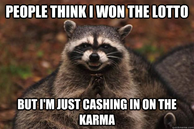 People think I won the lotto But I'm just cashing in on the karma - People think I won the lotto But I'm just cashing in on the karma  Evil Plotting Raccoon