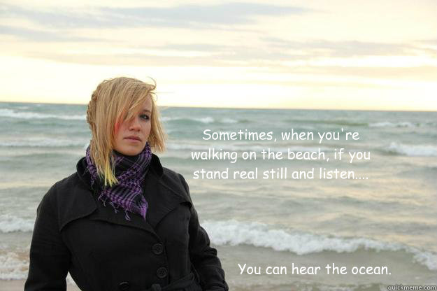 Sometimes, when you're walking on the beach, if you stand real still and listen.... You can hear the ocean.