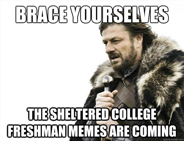Brace yourselves The sheltered college freshman memes are coming - Brace yourselves The sheltered college freshman memes are coming  Brace Yourselves - Borimir
