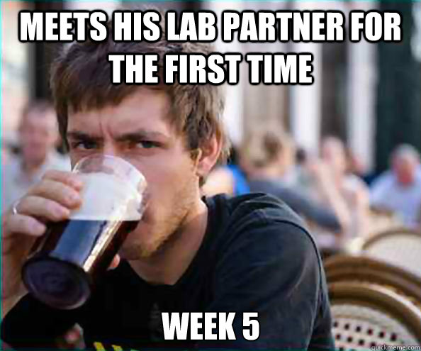 Meets his lab partner for the first time Week 5 - Meets his lab partner for the first time Week 5  Lazy College Senior