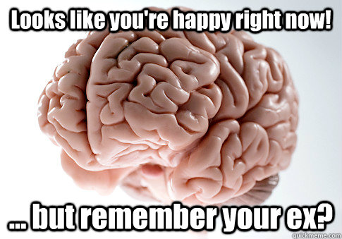 Looks like you're happy right now! ... but remember your ex?  - Looks like you're happy right now! ... but remember your ex?   Scumbag Brain