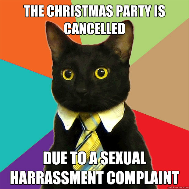 the christmas party is cancelled due to a sexual harrassment complaint - the christmas party is cancelled due to a sexual harrassment complaint  Business Cat