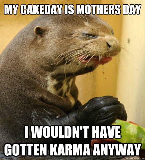 My Cakeday is mothers day   I wouldn't have gotten Karma anyway - My Cakeday is mothers day   I wouldn't have gotten Karma anyway  Disgusted Otter
