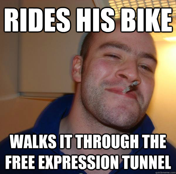 Rides his bike Walks it through the free expression tunnel - Rides his bike Walks it through the free expression tunnel  Misc