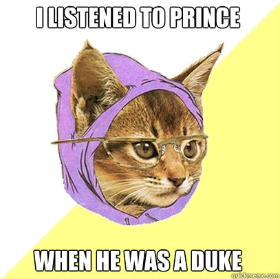 I listened to prince when he was a duke - I listened to prince when he was a duke  Hipster Kitty