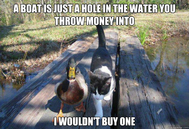 A boat is just a hole in the water you throw money into i wouldn't buy one