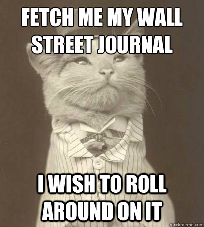 fetch me my wall street journal I wish to roll around on it - fetch me my wall street journal I wish to roll around on it  Aristocat