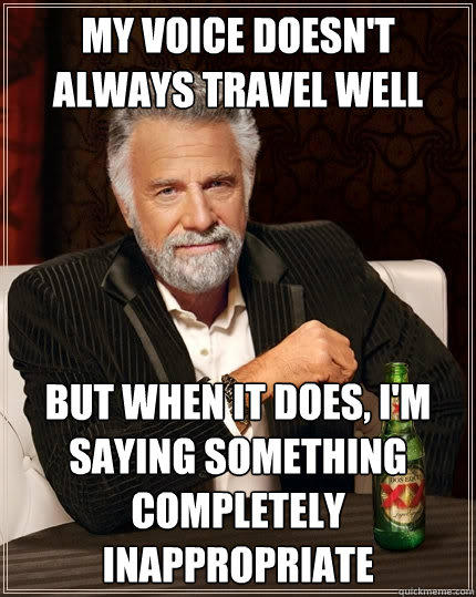My voice doesn't always travel well But when it does, I'm saying something completely inappropriate - My voice doesn't always travel well But when it does, I'm saying something completely inappropriate  The Most Interesting Man In The World