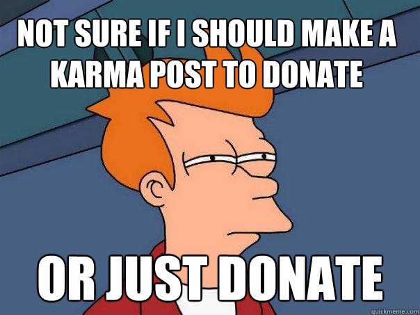 Not sure if I should make a karma post to donate or just donate - Not sure if I should make a karma post to donate or just donate  Futurama Fry