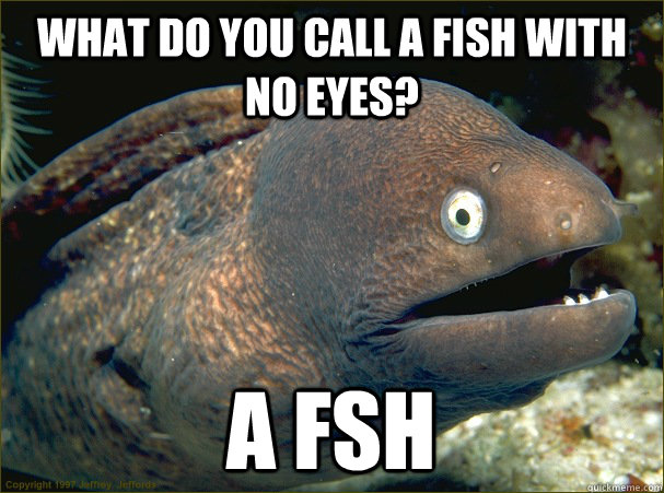 What do you call a fish with no eyes? A fsh - What do you call a fish with no eyes? A fsh  Bad Joke Eel