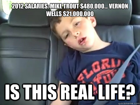 2012 Salaries: Mike Trout $480,000... Vernon Wells $21,000,000 is this real life?