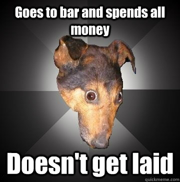 Goes to bar and spends all money Doesn't get laid  Depression Dog