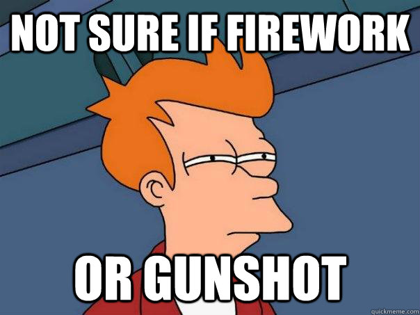 Not sure if firework Or gunshot - Not sure if firework Or gunshot  Futurama Fry