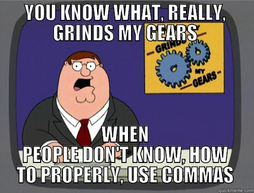 YOU KNOW WHAT, REALLY, GRINDS MY GEARS WHEN PEOPLE DON'T KNOW, HOW TO PROPERLY, USE COMMAS Grinds my gears