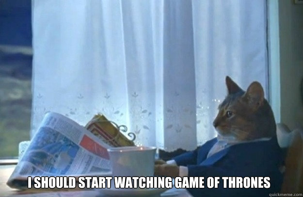 I should start watching game of thrones - I should start watching game of thrones  Sophisticated Cat