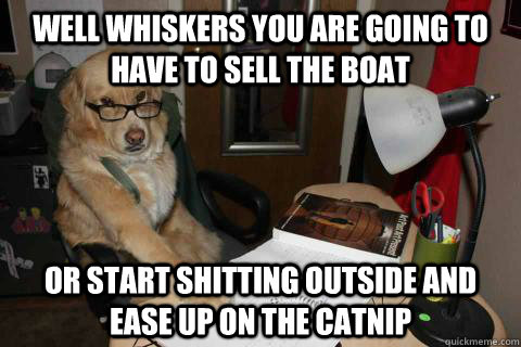 well whiskers you are going to have to sell the boat or start shitting outside and ease up on the catnip  - well whiskers you are going to have to sell the boat or start shitting outside and ease up on the catnip   Financial Advice Dog