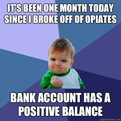 It's been one month today since I broke off of opiates Bank account has a positive balance - It's been one month today since I broke off of opiates Bank account has a positive balance  Success Kid