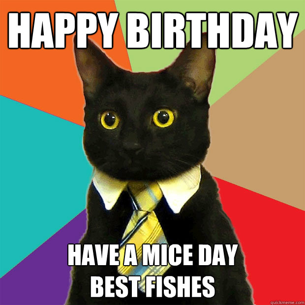 HAPPY BIRTHDAY HAVE A MICE DAY BEST FISHES - HAPPY BIRTHDAY HAVE A MICE DAY BEST FISHES  Business Cat