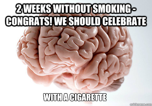 2 weeks without smoking - congrats! we should celebrate  with a cigarette - 2 weeks without smoking - congrats! we should celebrate  with a cigarette  Scumbag Brain