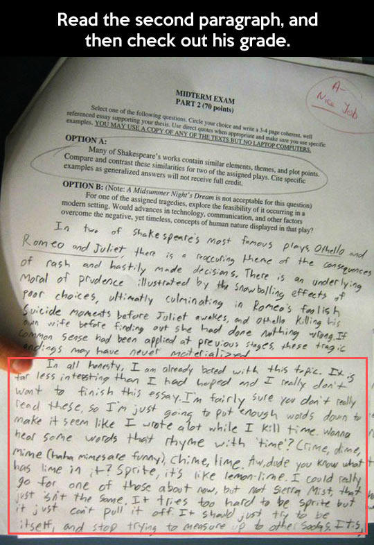 This Kid is Brilliant. Read the Second Paragraph, and then check out his grade... -   Misc