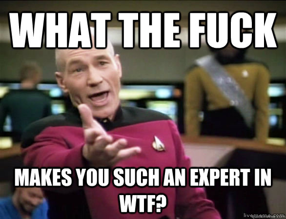 what the fuck makes you such an expert in wtf? - what the fuck makes you such an expert in wtf?  Annoyed Picard HD