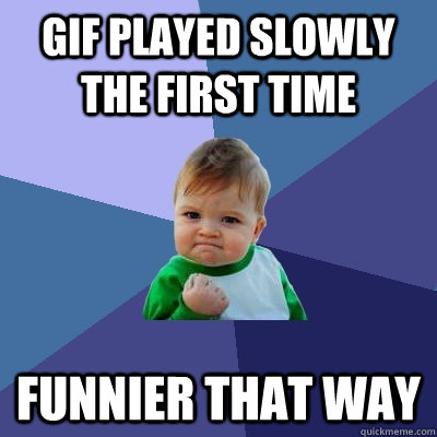 gif played slowly the first time funnier that way - gif played slowly the first time funnier that way  Success Kid