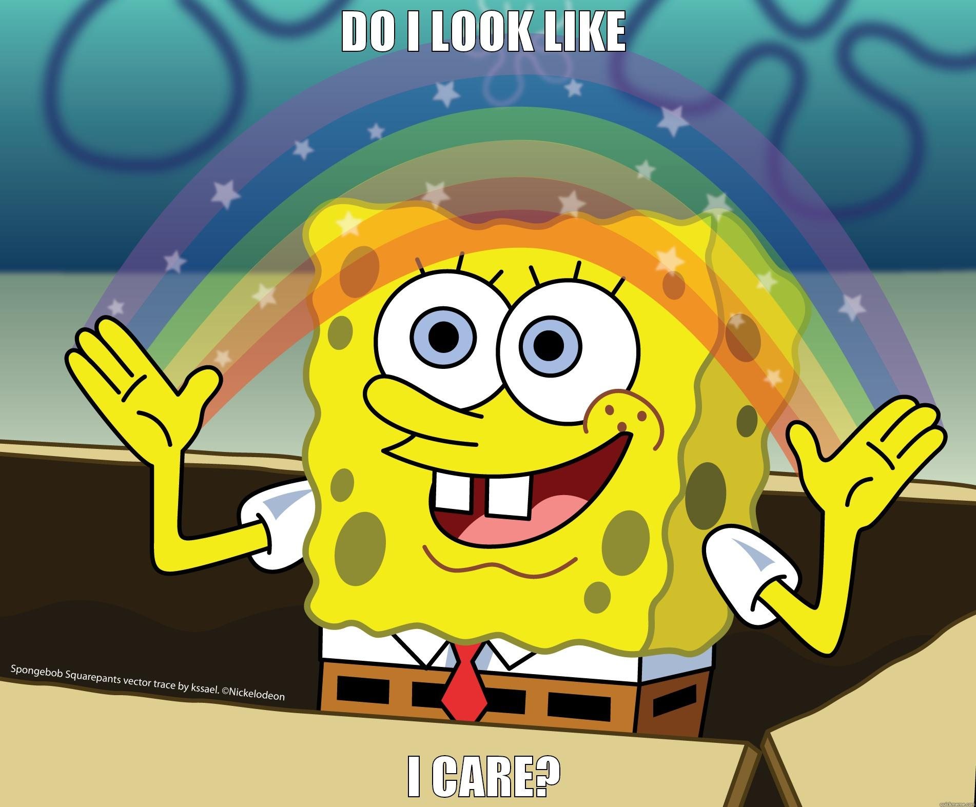 Spongebob rainbow do i look like i care misc